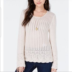 New Style & Co Crochet Tunic Sweater River Rock S